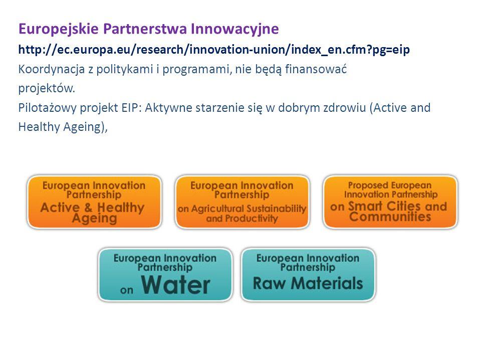 Europejskie Partnerstwa Innowacyjne http://ec.europa.eu/research/innovation-union/index_en.cfm?pg=eip Koordynacja z politykami i programami, nie będą finansować projektów.