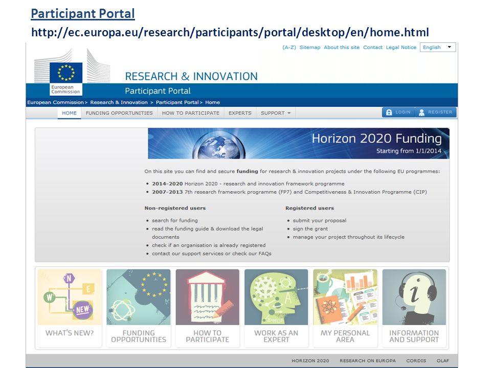 http://ec.europa.eu/research/participants/portal/desktop/en/home.html Participant Portal