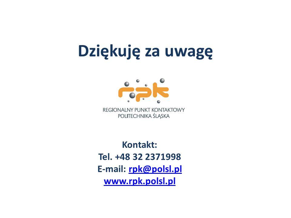 Kontakt: Tel. +48 32 2371998 E-mail: rpk@polsl.plrpk@polsl.pl www.rpk.polsl.pl Dziękuję za uwagę