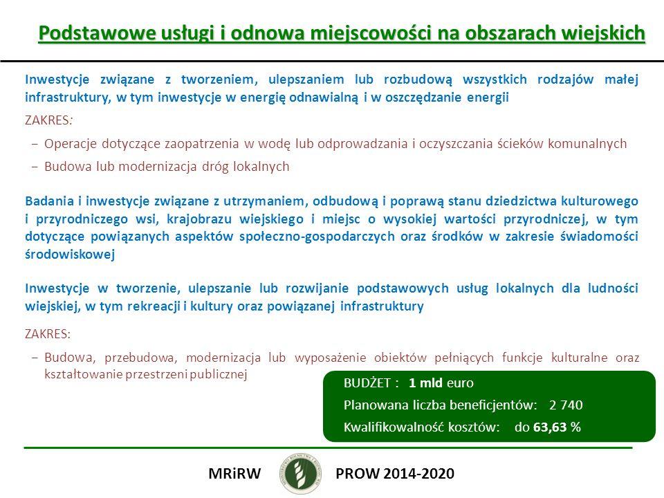 Podstawowe usługi i odnowa miejscowości na obszarach wiejskich Podstawowe usługi i odnowa miejscowości na obszarach wiejskich Inwestycje związane z tworzeniem, ulepszaniem lub rozbudową wszystkich rodzajów małej infrastruktury, w tym inwestycje w energię odnawialną i w oszczędzanie energii ZAKRES: Operacje dotyczące zaopatrzenia w wodę lub odprowadzania i oczyszczania ścieków komunalnych Budowa lub modernizacja dróg lokalnych Badania i inwestycje związane z utrzymaniem, odbudową i poprawą stanu dziedzictwa kulturowego i przyrodniczego wsi, krajobrazu wiejskiego i miejsc o wysokiej wartości przyrodniczej, w tym dotyczące powiązanych aspektów społeczno-gospodarczych oraz środków w zakresie świadomości środowiskowej Inwestycje w tworzenie, ulepszanie lub rozwijanie podstawowych usług lokalnych dla ludności wiejskiej, w tym rekreacji i kultury oraz powiązanej infrastruktury ZAKRES: Budowa, przebudowa, modernizacja lub wyposażenie obiektów pełniących funkcje kulturalne oraz kształtowanie przestrzeni publicznej PROW 2014-2020MRiRW BUDŻET : 1 mld euro Planowana liczba beneficjentów: 2 740 Kwalifikowalność kosztów: do 63,63 %