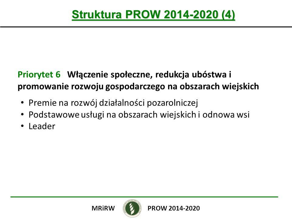 Struktura PROW 2014-2020 (4) Priorytet 6 Włączenie społeczne, redukcja ubóstwa i promowanie rozwoju gospodarczego na obszarach wiejskich Premie na rozwój działalności pozarolniczej Podstawowe usługi na obszarach wiejskich i odnowa wsi Leader PROW 2014-2020MRiRW