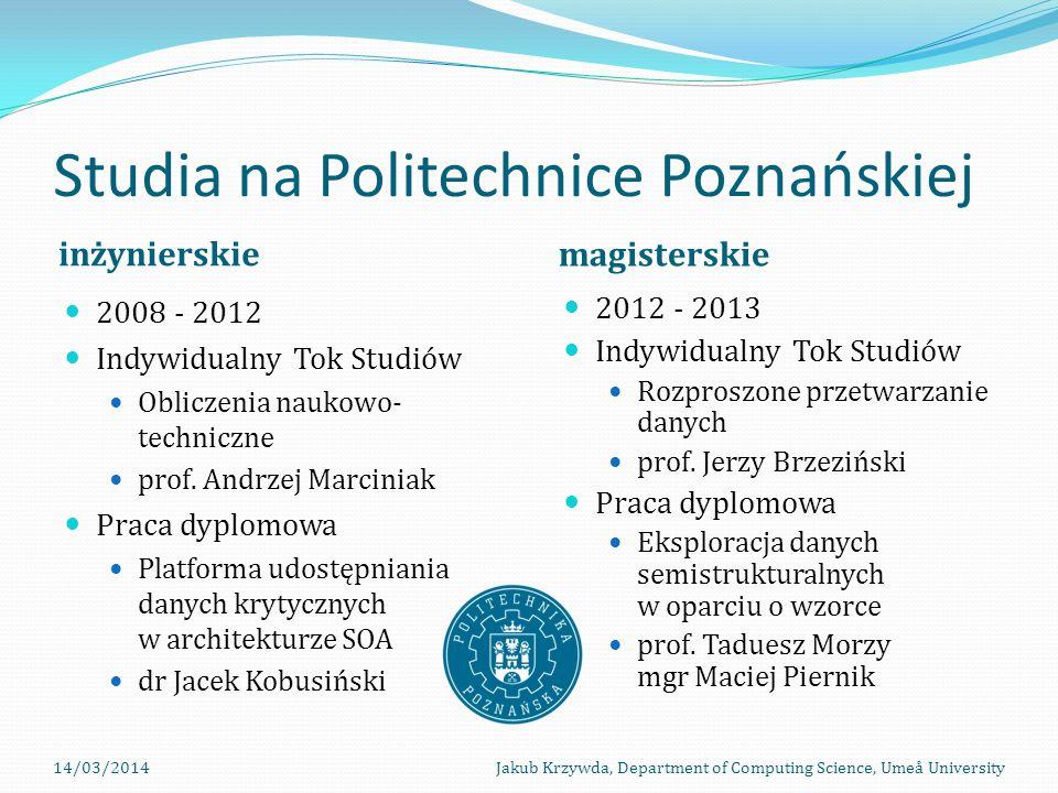Studia na Politechnice Poznańskiej inżynierskie magisterskie 2008 - 2012 Indywidualny Tok Studiów Obliczenia naukowo- techniczne prof.