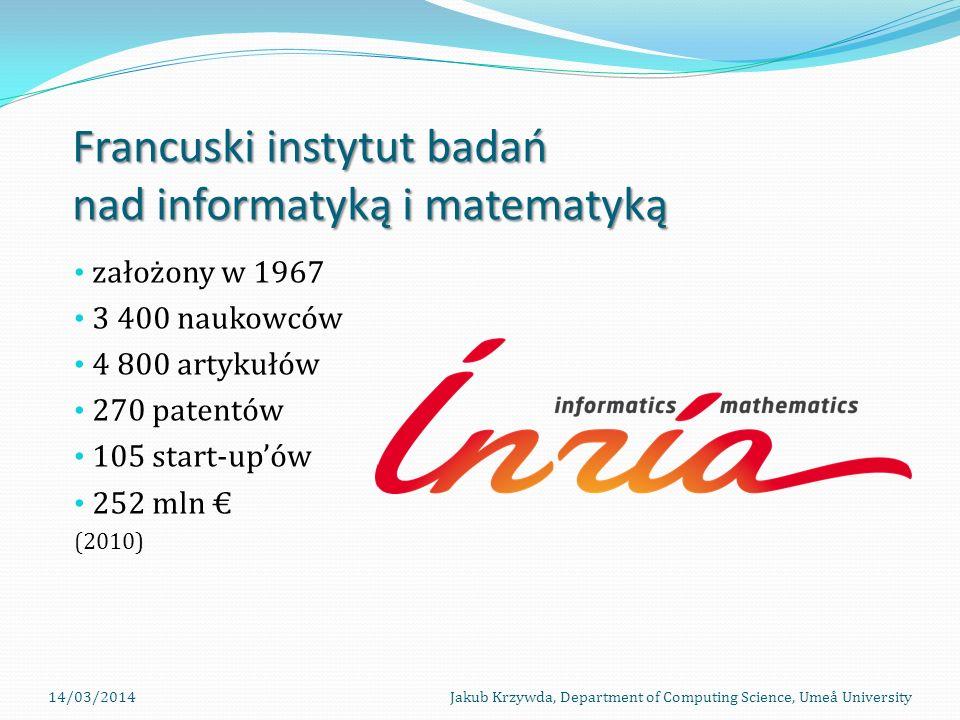 Francuski instytut badań nad informatyką i matematyką założony w 1967 3 400 naukowców 4 800 artykułów 270 patentów 105 start-upów 252 mln (2010) 14/03/2014Jakub Krzywda, Department of Computing Science, Umeå University