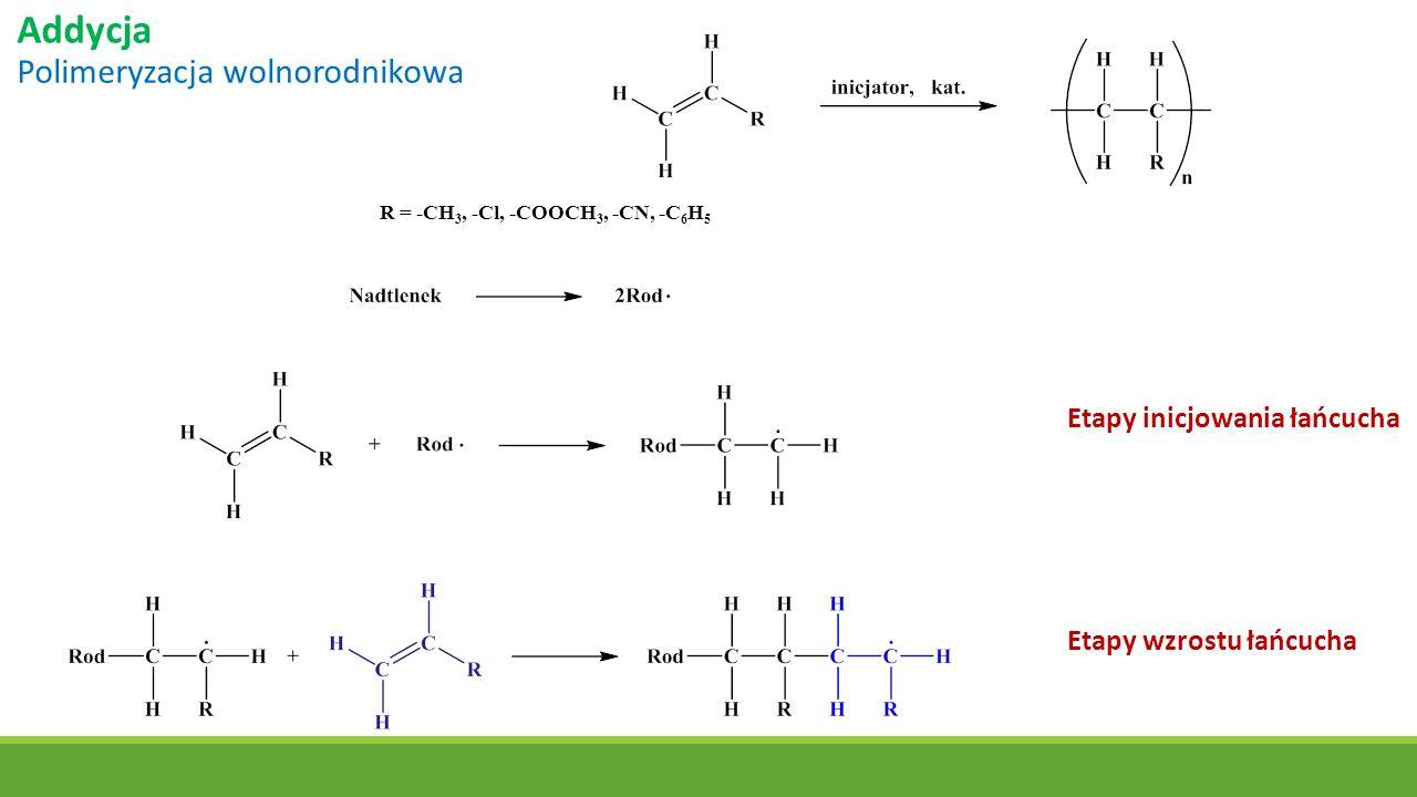 Addycja Polimeryzacja wolnorodnikowa R = -CH 3, -Cl, -COOCH 3, -CN, -C 6 H 5 Etapy inicjowania łańcucha Etapy wzrostu łańcucha