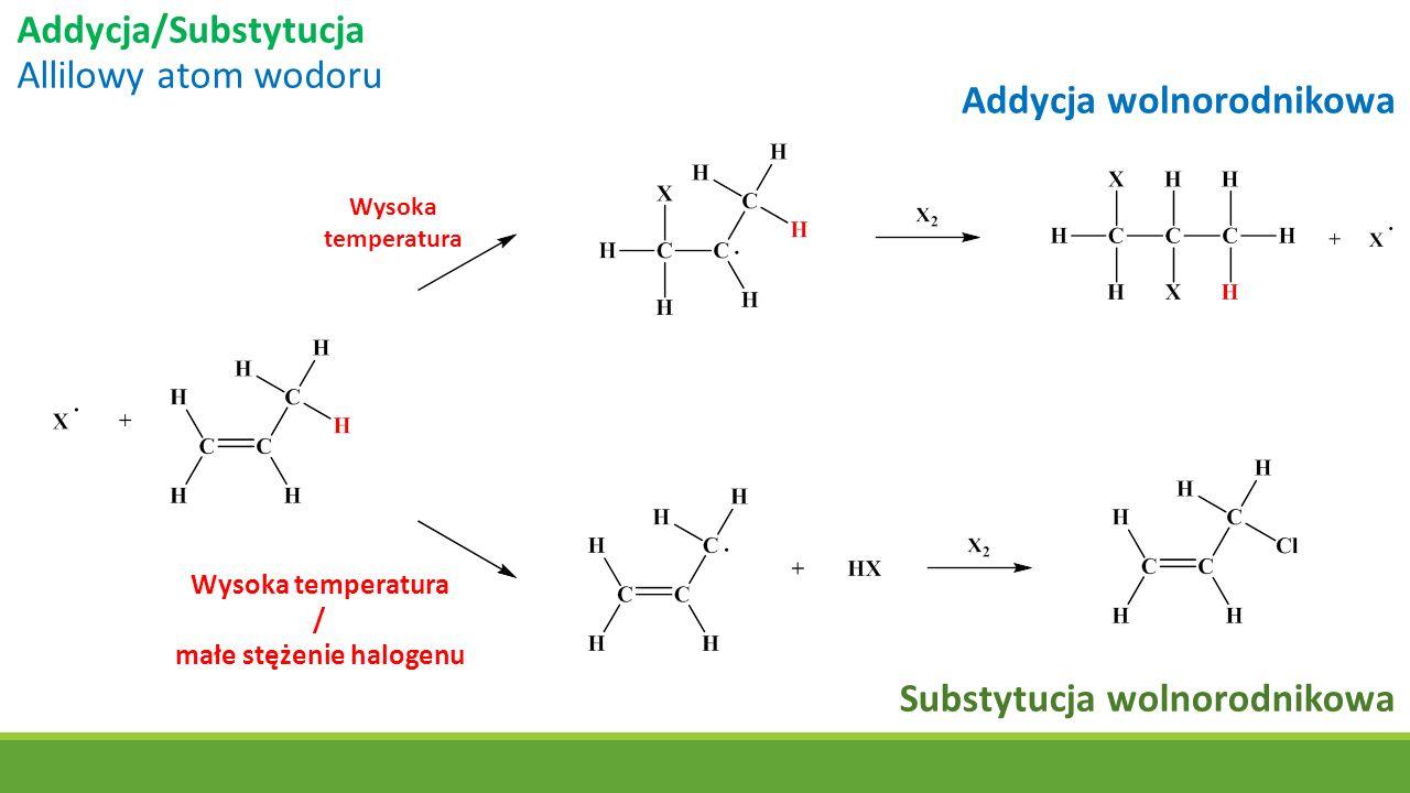 Addycja/Substytucja Allilowy atom wodoru Wysoka temperatura Addycja wolnorodnikowa Substytucja wolnorodnikowa Wysoka temperatura / małe stężenie halog