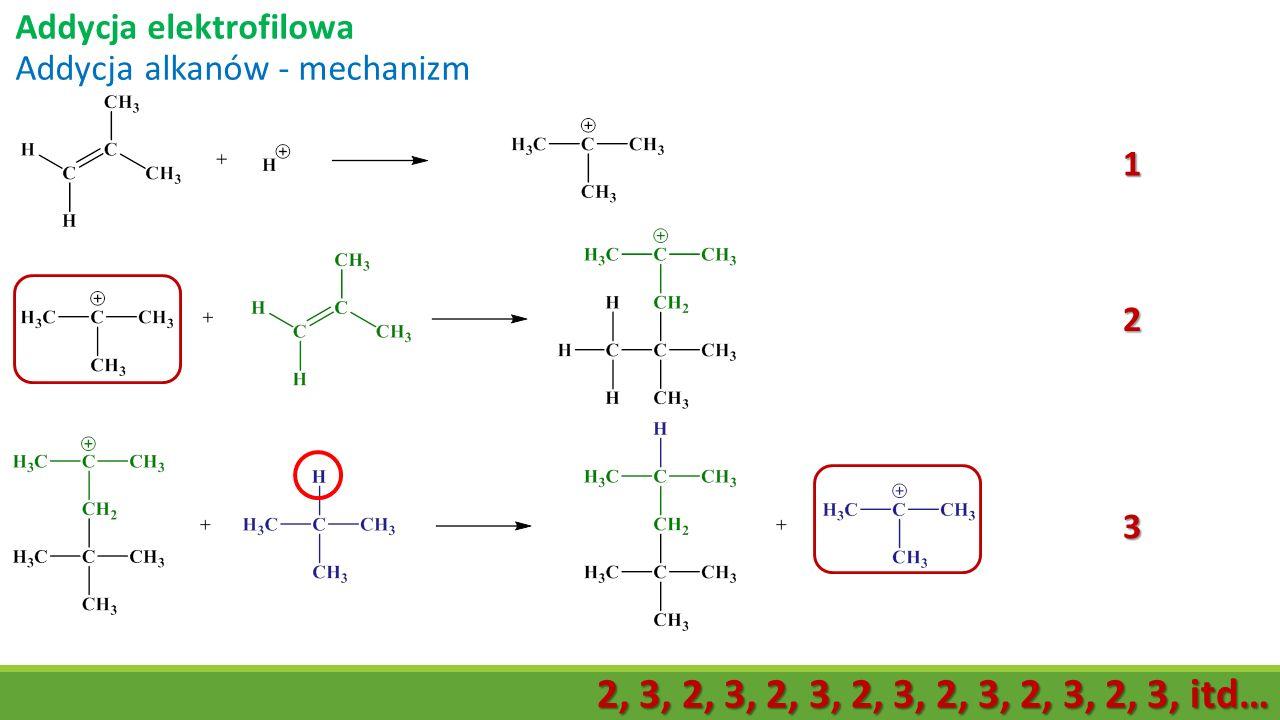 Addycja elektrofilowa Addycja alkanów - mechanizm 1 2 3 2, 3, 2, 3, 2, 3, 2, 3, 2, 3, 2, 3, 2, 3, itd…