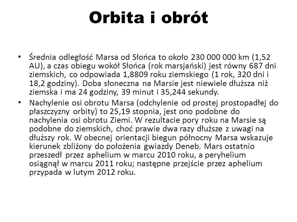 Orbita i obrót Średnia odległość Marsa od Słońca to około 230 000 000 km (1,52 AU), a czas obiegu wokół Słońca (rok marsjański) jest równy 687 dni ziemskich, co odpowiada 1,8809 roku ziemskiego (1 rok, 320 dni i 18,2 godziny).