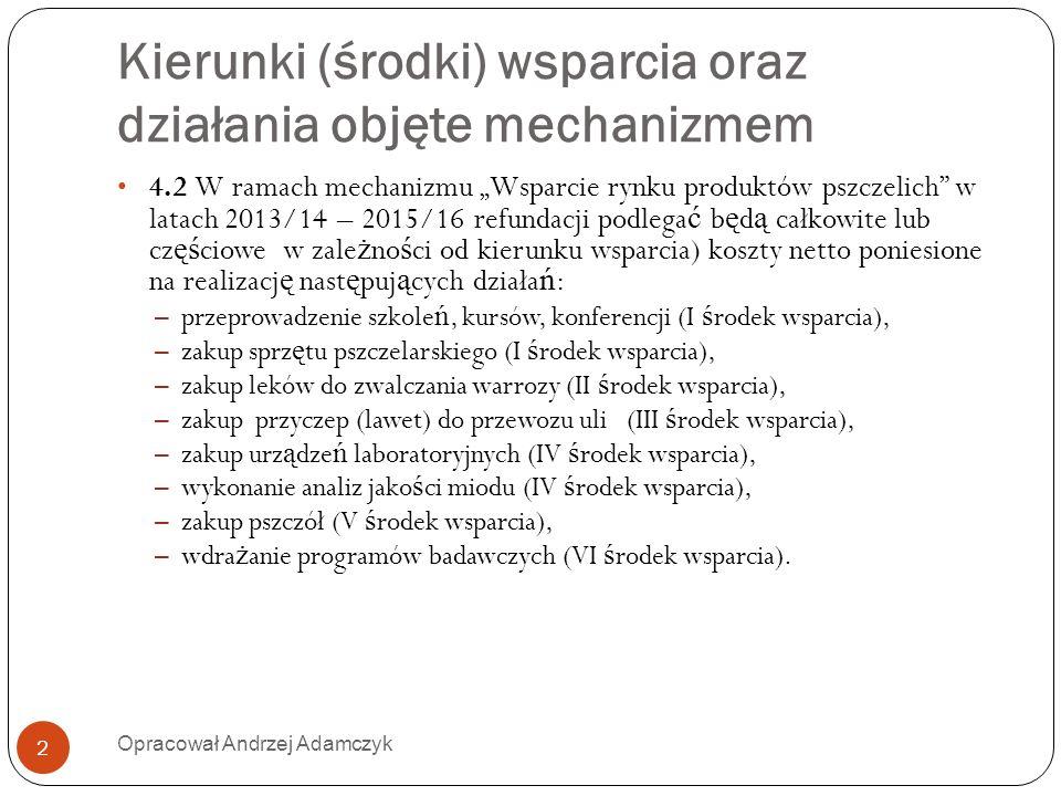Kierunki (środki) wsparcia oraz działania objęte mechanizmem 4.2 W ramach mechanizmu Wsparcie rynku produktów pszczelich w latach 2013/14 – 2015/16 re