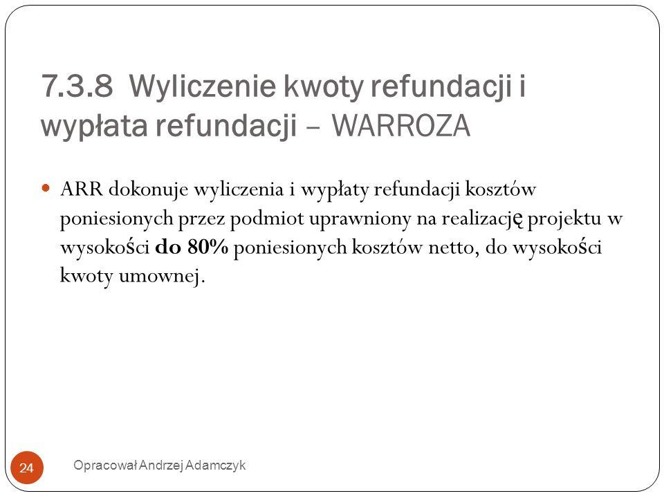 7.3.8 Wyliczenie kwoty refundacji i wypłata refundacji – WARROZA ARR dokonuje wyliczenia i wypłaty refundacji kosztów poniesionych przez podmiot upraw
