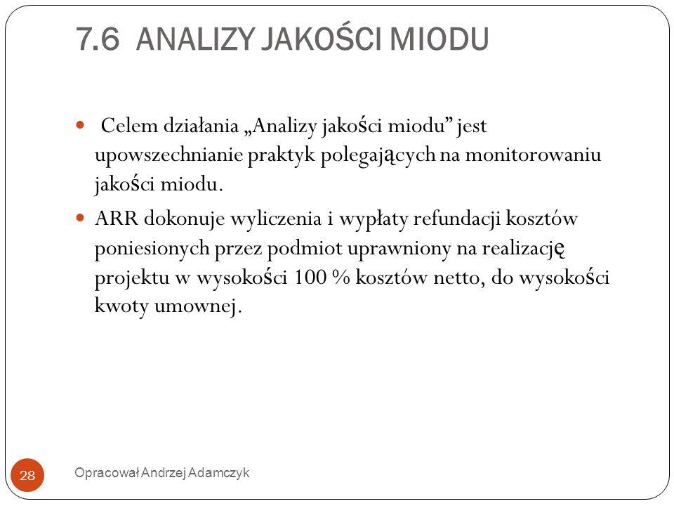 7.6 ANALIZY JAKOŚCI MIODU Celem działania Analizy jako ś ci miodu jest upowszechnianie praktyk polegaj ą cych na monitorowaniu jako ś ci miodu. ARR do