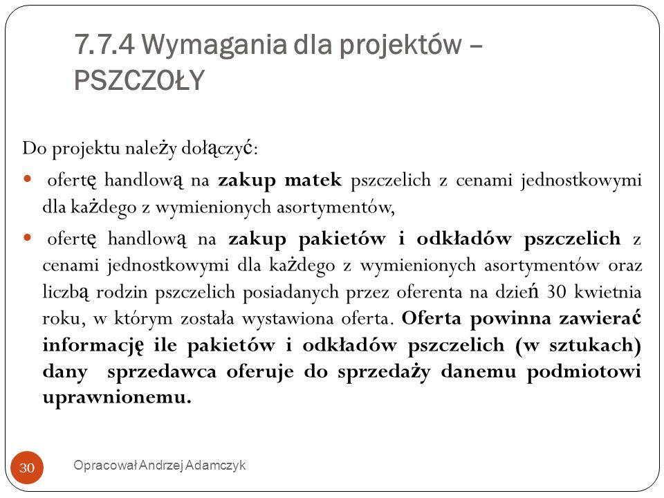 7.7.4 Wymagania dla projektów – PSZCZOŁY Do projektu nale ż y doł ą czy ć : ofert ę handlow ą na zakup matek pszczelich z cenami jednostkowymi dla ka
