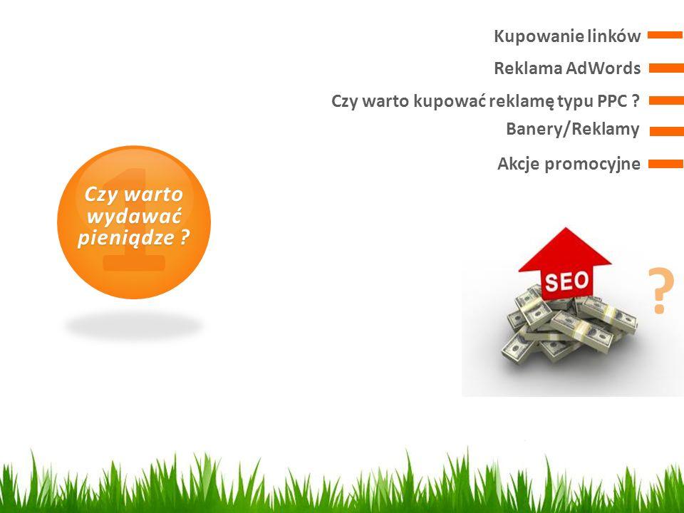 Reklama AdWords 1 Czy warto wydawać pieniądze ? Kupowanie linków Czy warto kupować reklamę typu PPC ? Banery/Reklamy Akcje promocyjne ?