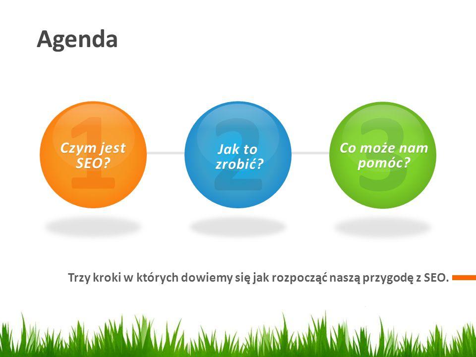 Agenda Trzy kroki w których dowiemy się jak rozpocząć naszą przygodę z SEO. 1 Czym jest SEO? 2 Jak to zrobić? zrobić? 3 Co może nam pomóc?