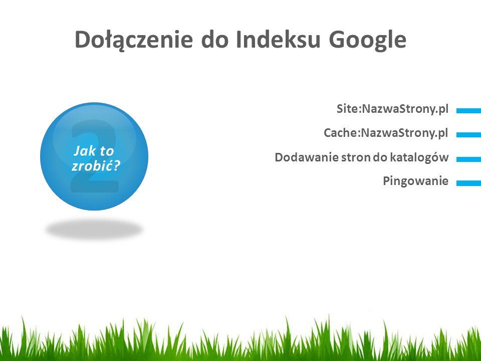 Dołączenie do Indeksu Google 1 Czym jest SEO? Site:NazwaStrony.pl 2 Jak to zrobić? zrobić? Cache:NazwaStrony.pl Dodawanie stron do katalogów Pingowani
