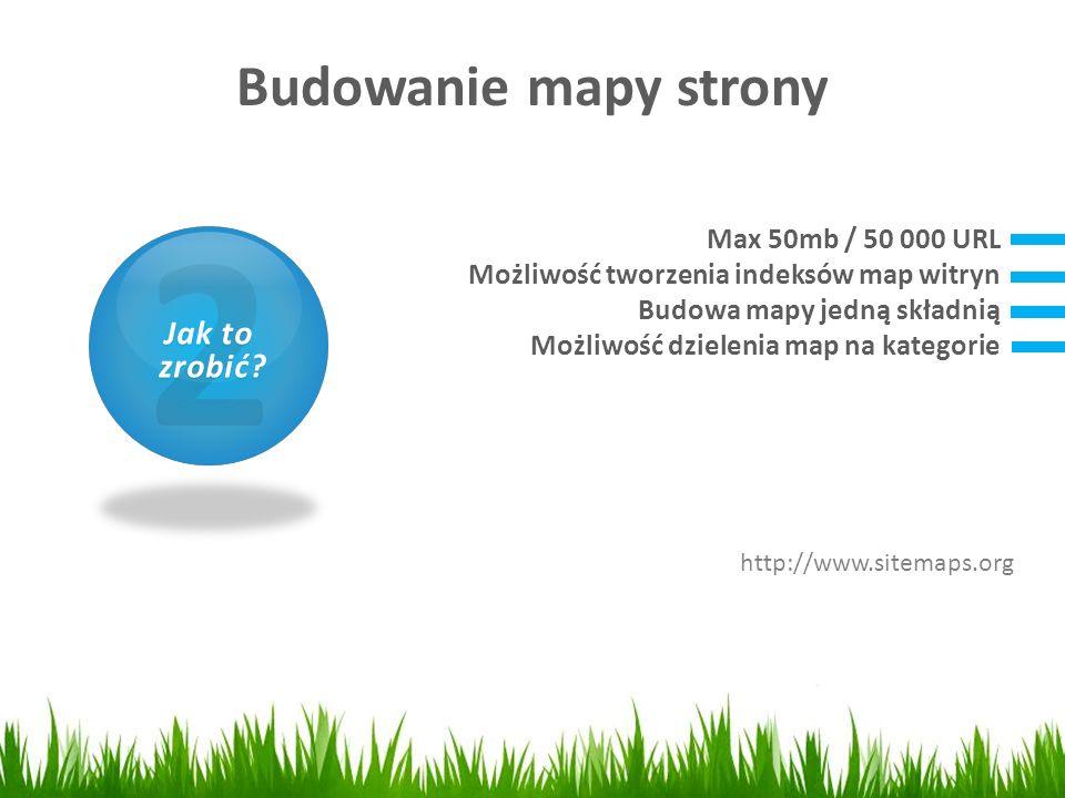 Budowanie mapy strony 1 Czym jest SEO? 2 Jak to zrobić? zrobić? Max 50mb / 50 000 URL Możliwość tworzenia indeksów map witryn Budowa mapy jedną składn