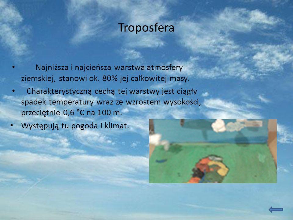 Troposfera Najniższa i najcieńsza warstwa atmosfery ziemskiej, stanowi ok. 80% jej całkowitej masy. Charakterystyczną cechą tej warstwy jest ciągły sp