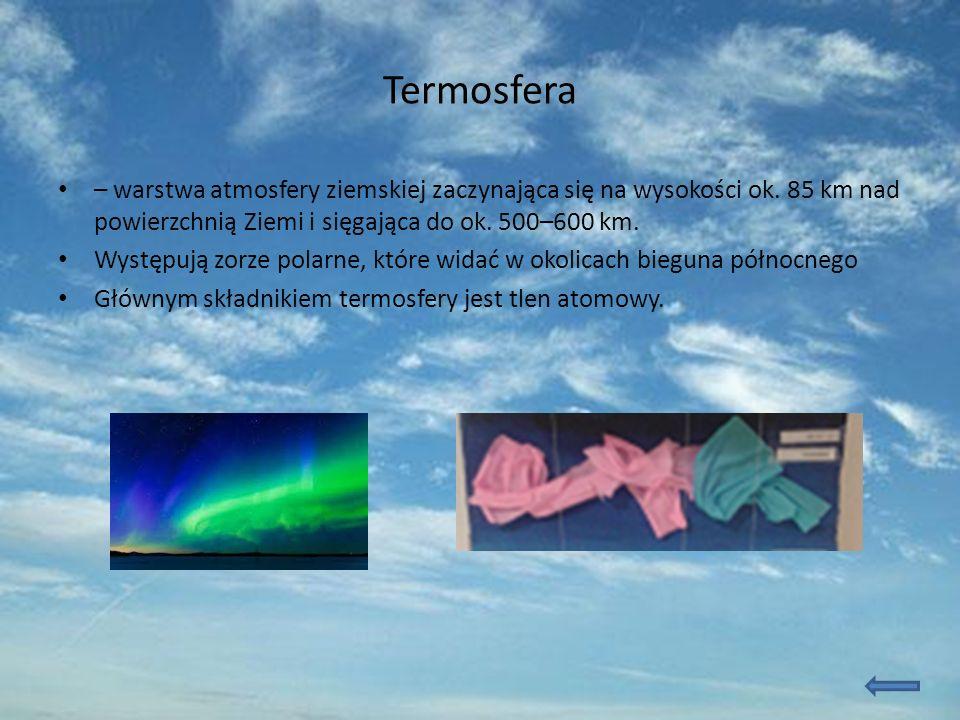 Termosfera – warstwa atmosfery ziemskiej zaczynająca się na wysokości ok.