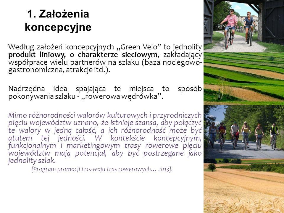 1. Założenia koncepcyjne Według założeń koncepcyjnych Green Velo to jednolity produkt liniowy, o charakterze sieciowym, zakładający współpracę wielu p