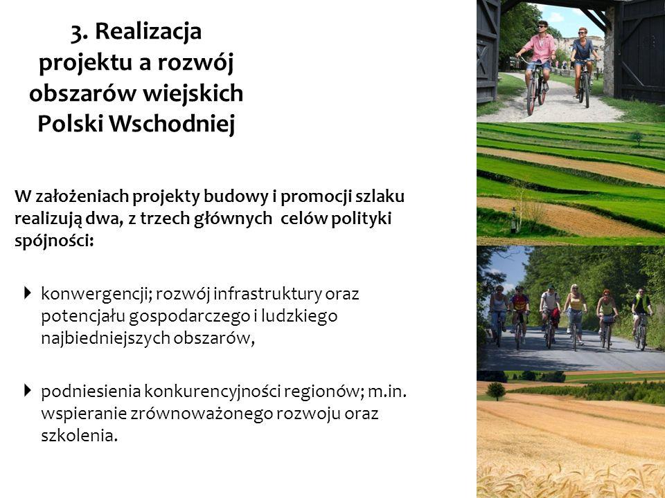 3. Realizacja projektu a rozwój obszarów wiejskich Polski Wschodniej W założeniach projekty budowy i promocji szlaku realizują dwa, z trzech głównych