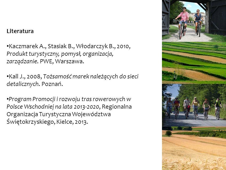 Literatura Kaczmarek A., Stasiak B., Włodarczyk B., 2010, Produkt turystyczny, pomysł, organizacja, zarządzanie. PWE, Warszawa. Kall J., 2008, Tożsamo