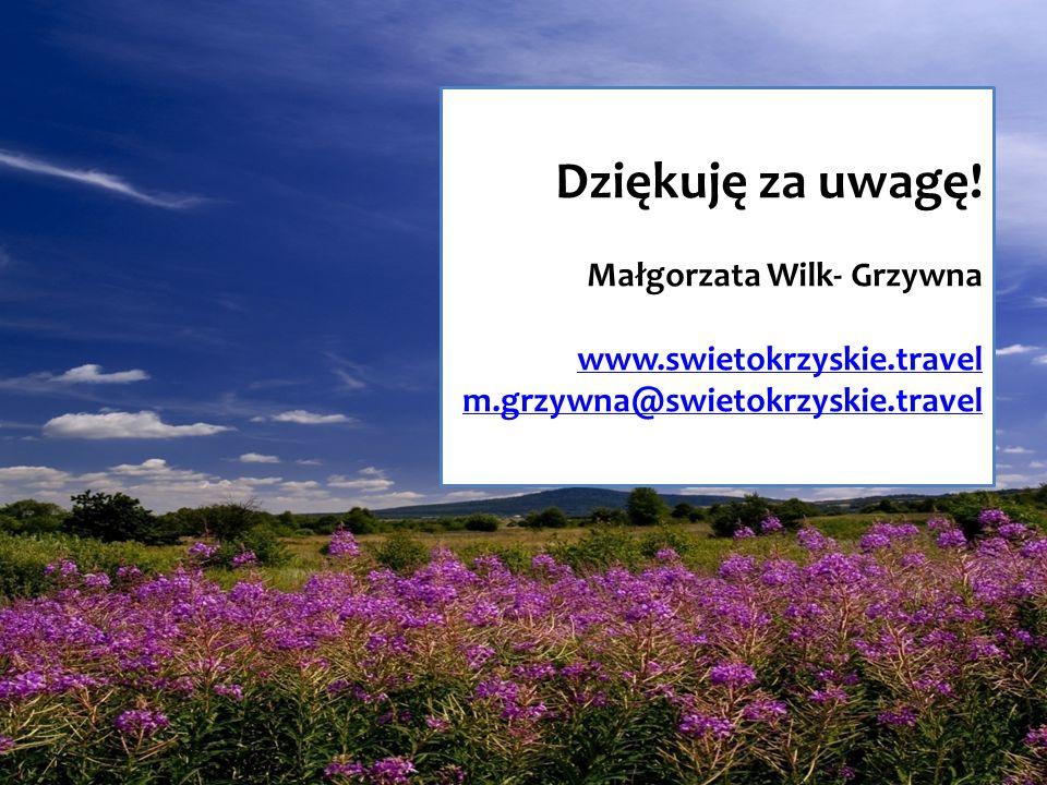 Dziękuję za uwagę! Małgorzata Wilk- Grzywna www.swietokrzyskie.travel m.grzywna@swietokrzyskie.travel