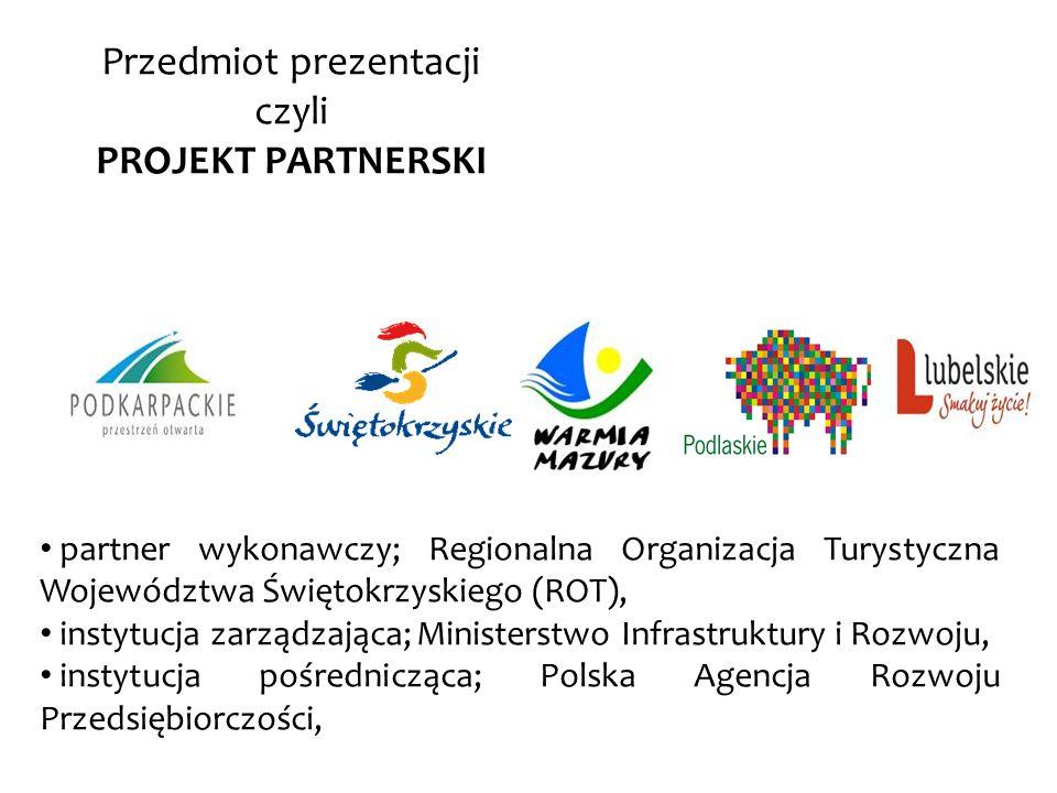 Przedmiot prezentacji czyli PROJEKT PARTNERSKI partner wykonawczy; Regionalna Organizacja Turystyczna Województwa Świętokrzyskiego (ROT), instytucja z