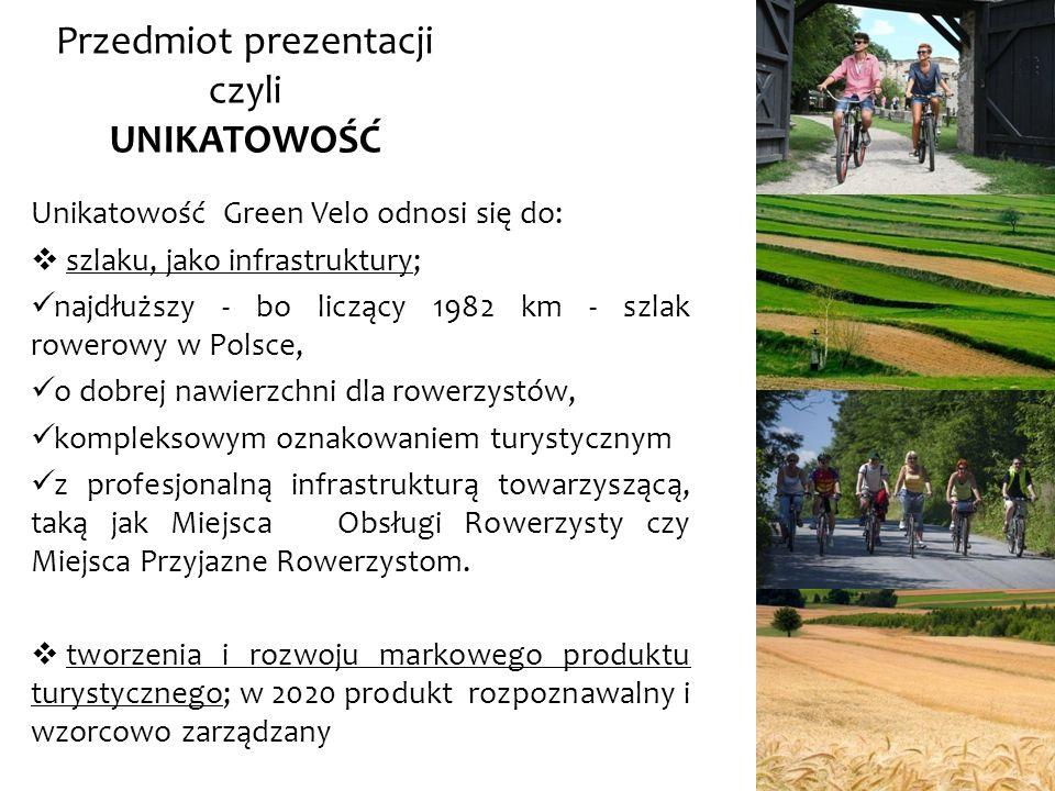 Unikatowość Green Velo odnosi się do: szlaku, jako infrastruktury; najdłuższy - bo liczący 1982 km - szlak rowerowy w Polsce, o dobrej nawierzchni dla