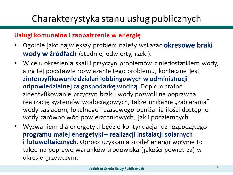 Charakterystyka stanu usług publicznych Usługi komunalne i zaopatrzenie w energię Ogólnie jako największy problem należy wskazać okresowe braki wody w