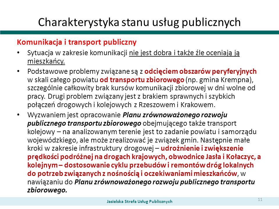 Charakterystyka stanu usług publicznych Komunikacja i transport publiczny Sytuacja w zakresie komunikacji nie jest dobra i także źle oceniają ją miesz