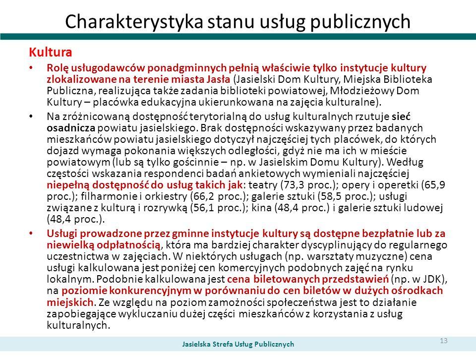 Charakterystyka stanu usług publicznych Kultura Rolę usługodawców ponadgminnych pełnią właściwie tylko instytucje kultury zlokalizowane na terenie mia