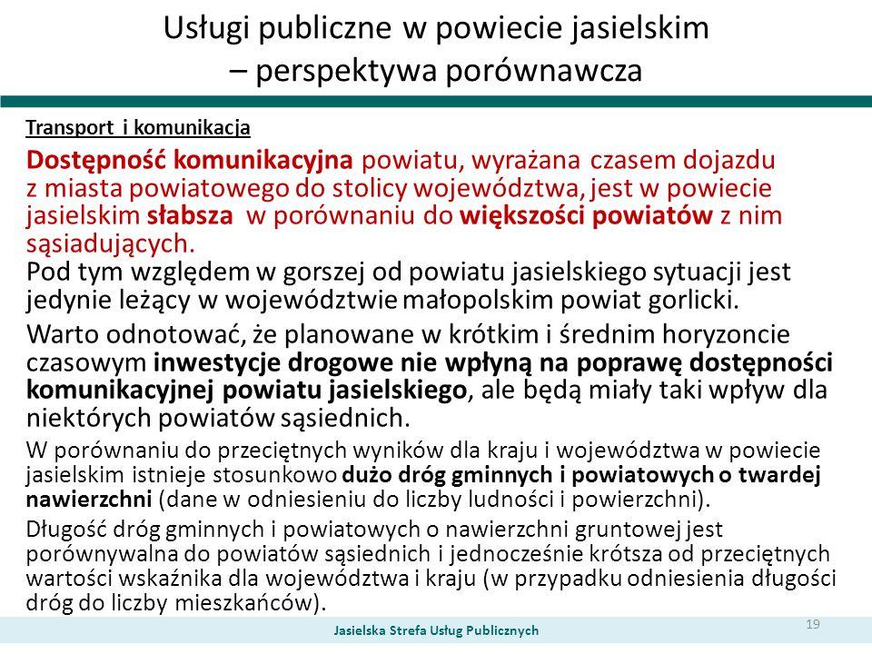 Usługi publiczne w powiecie jasielskim – perspektywa porównawcza Transport i komunikacja Dostępność komunikacyjna powiatu, wyrażana czasem dojazdu z m