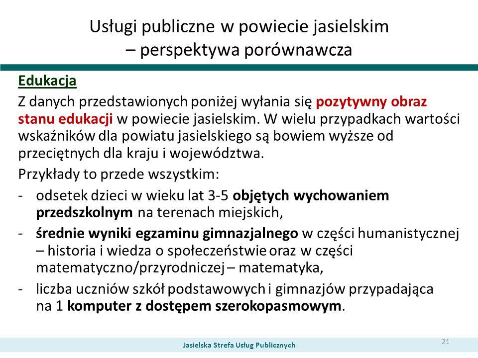 Usługi publiczne w powiecie jasielskim – perspektywa porównawcza Edukacja Z danych przedstawionych poniżej wyłania się pozytywny obraz stanu edukacji