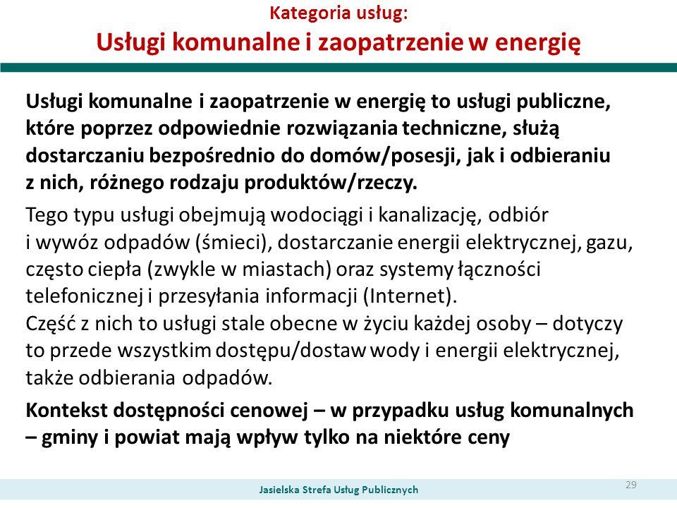 Kategoria usług: Usługi komunalne i zaopatrzenie w energię Usługi komunalne i zaopatrzenie w energię to usługi publiczne, które poprzez odpowiednie ro