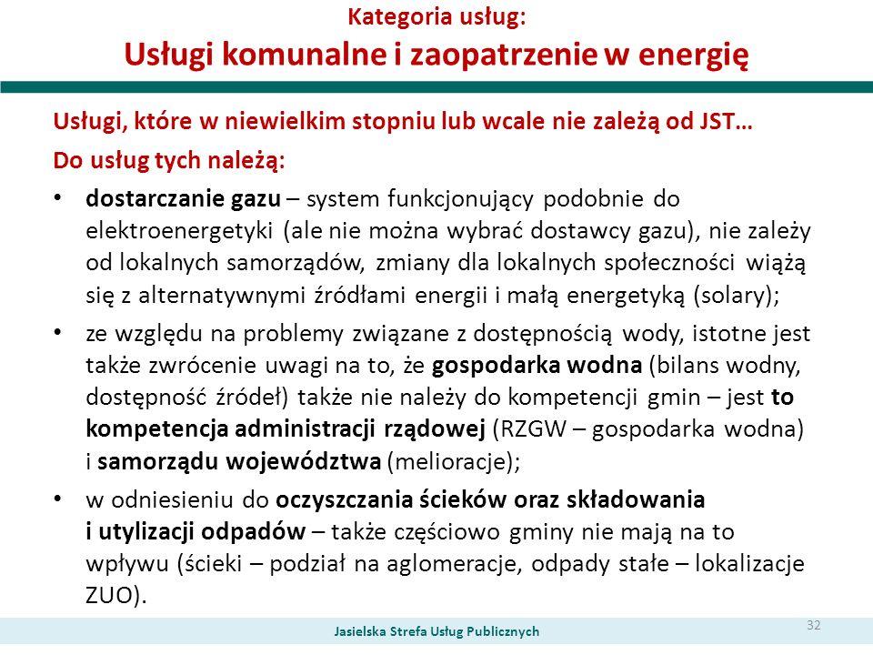 Kategoria usług: Usługi komunalne i zaopatrzenie w energię Usługi, które w niewielkim stopniu lub wcale nie zależą od JST… Do usług tych należą: dosta