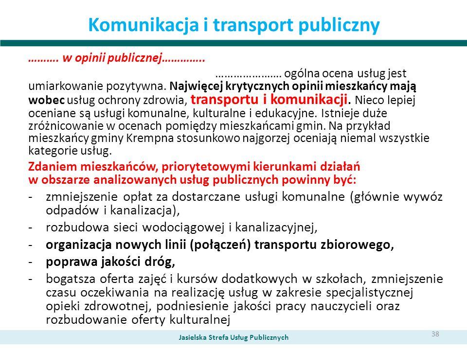 Komunikacja i transport publiczny ………. w opinii publicznej………….. …………………. ogólna ocena usług jest umiarkowanie pozytywna. Najwięcej krytycznych opinii