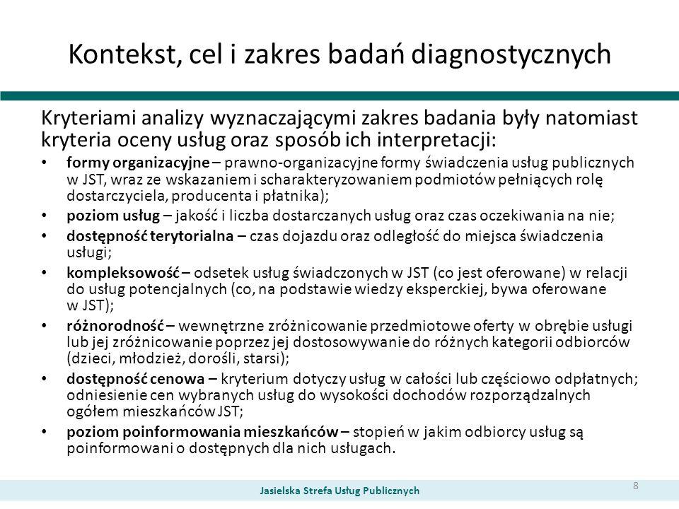 Kontekst, cel i zakres badań diagnostycznych Kryteriami analizy wyznaczającymi zakres badania były natomiast kryteria oceny usług oraz sposób ich inte