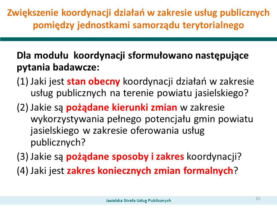 Zwiększenie koordynacji działań w zakresie usług publicznych pomiędzy jednostkami samorządu terytorialnego Dla modułu koordynacji sformułowano następu