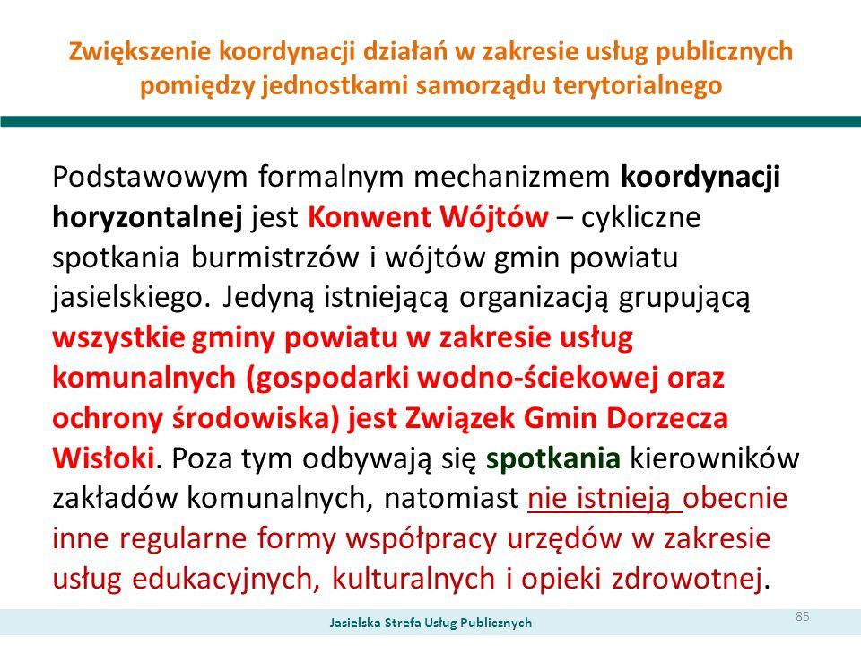 Zwiększenie koordynacji działań w zakresie usług publicznych pomiędzy jednostkami samorządu terytorialnego Podstawowym formalnym mechanizmem koordynac