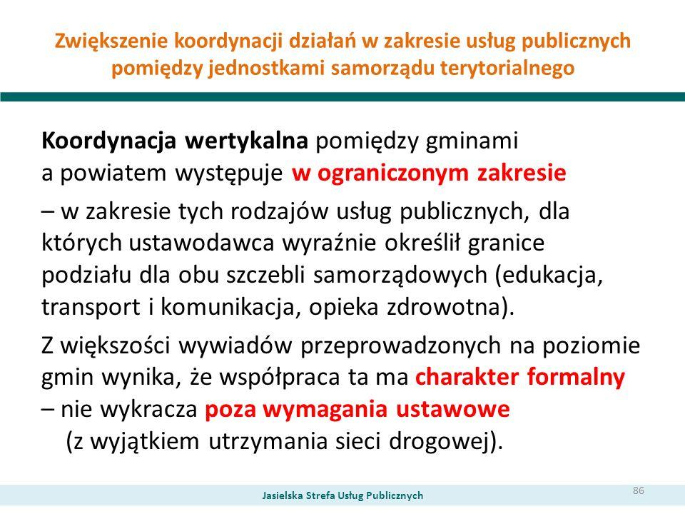 Zwiększenie koordynacji działań w zakresie usług publicznych pomiędzy jednostkami samorządu terytorialnego Koordynacja wertykalna pomiędzy gminami a p