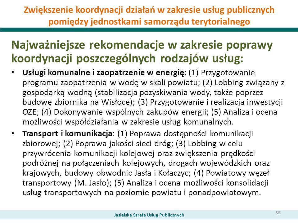 Zwiększenie koordynacji działań w zakresie usług publicznych pomiędzy jednostkami samorządu terytorialnego Najważniejsze rekomendacje w zakresie popra