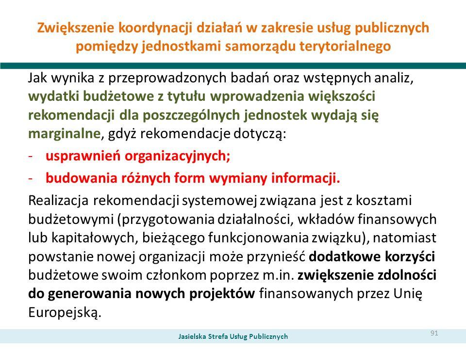 Zwiększenie koordynacji działań w zakresie usług publicznych pomiędzy jednostkami samorządu terytorialnego Jak wynika z przeprowadzonych badań oraz ws