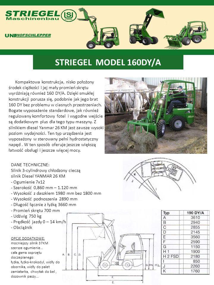 STRIEGEL MODEL 160DY/A Kompaktowa konstrukcja, nisko położony środek ciężkości i jej mały promień skrętu wyróżniają również 160 DY/A. Dzięki smukłej k