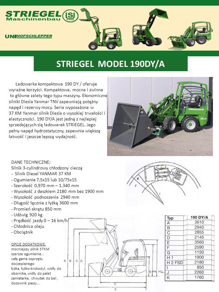 STRIEGEL MODEL 190DY/A Ładowarka kompaktowa 190 DY / oferuje wyraźne korzyści. Kompaktowa, mocna i zwinna to główne zalety tego typu maszyny. Ekonomic