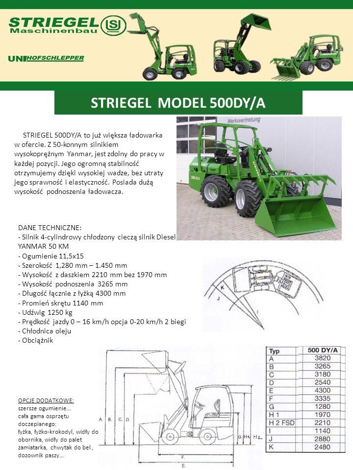 STRIEGEL MODEL 600DY/A Jeszcze więcej mocy 52,1 kW / 68KM, większy udźwig i większa wysokość podnoszenia 3450, ładowarka ta jest przeznaczona naprawdę do ciężkich prac.