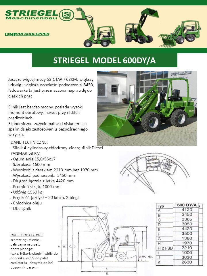 STRIEGEL MODEL 600DY/A Jeszcze więcej mocy 52,1 kW / 68KM, większy udźwig i większa wysokość podnoszenia 3450, ładowarka ta jest przeznaczona naprawdę