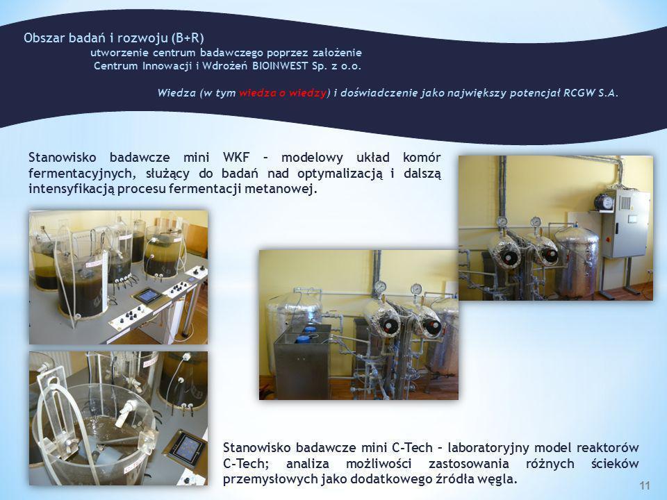 Stanowisko badawcze mini WKF – modelowy układ komór fermentacyjnych, służący do badań nad optymalizacją i dalszą intensyfikacją procesu fermentacji me