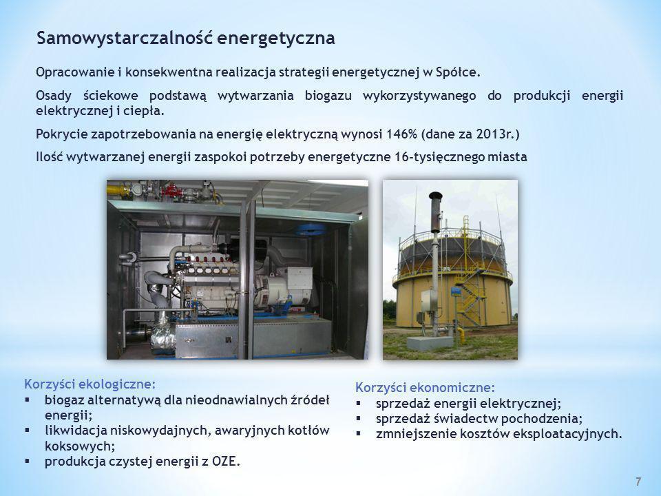 Korzyści ekologiczne: biogaz alternatywą dla nieodnawialnych źródeł energii; likwidacja niskowydajnych, awaryjnych kotłów koksowych; produkcja czystej