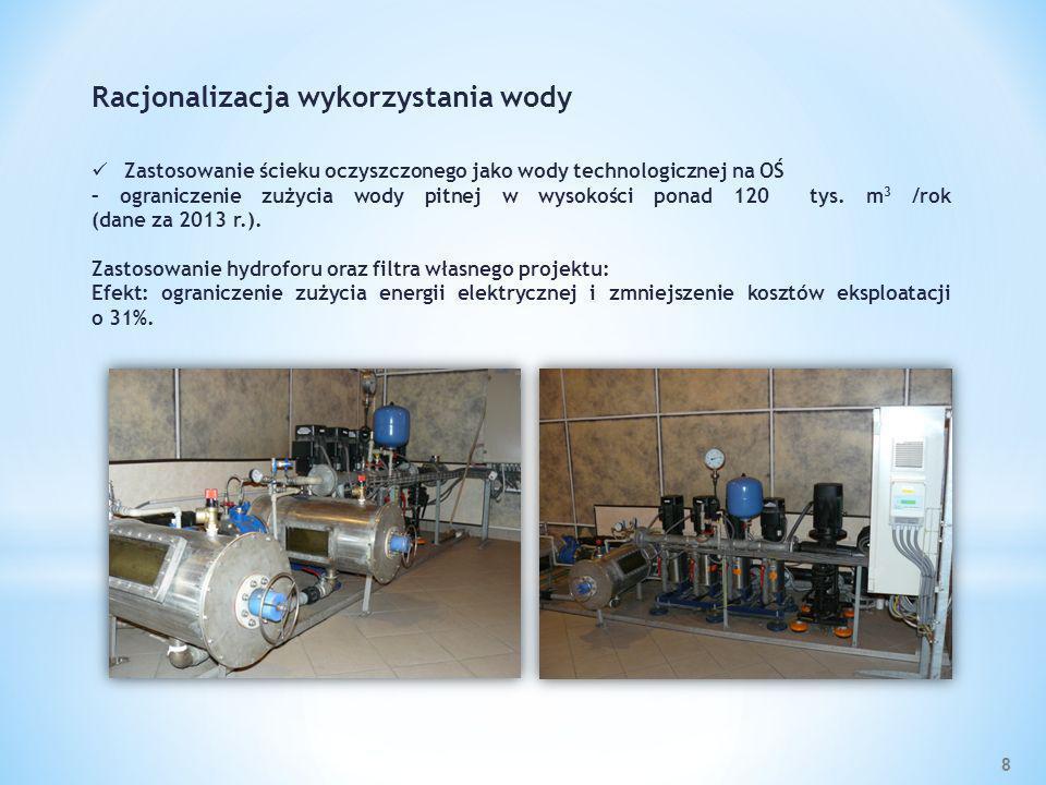 8 Racjonalizacja wykorzystania wody Zastosowanie ścieku oczyszczonego jako wody technologicznej na OŚ – ograniczenie zużycia wody pitnej w wysokości p
