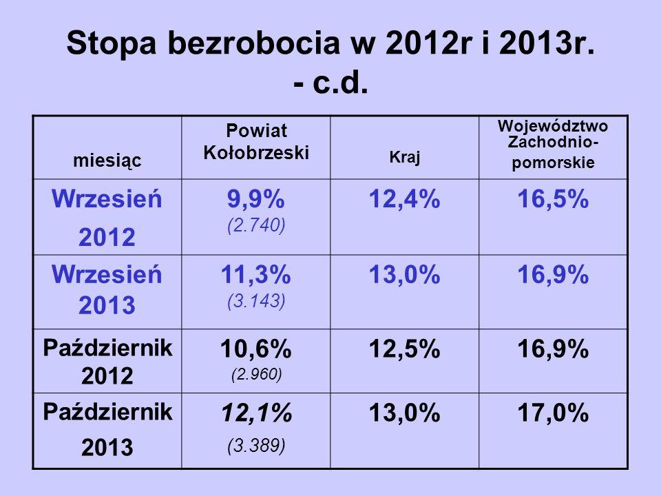 Stopa bezrobocia w 2012r i 2013r. - c.d.