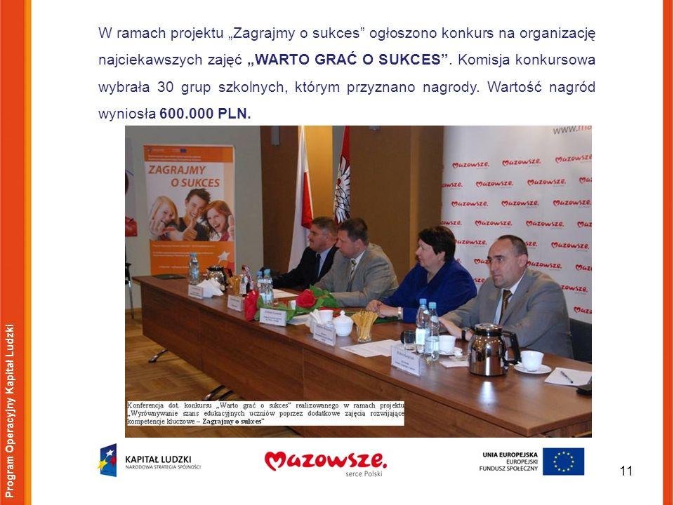 11 Program Operacyjny Kapitał Ludzki W ramach projektu Zagrajmy o sukces ogłoszono konkurs na organizację najciekawszych zajęć WARTO GRAĆ O SUKCES. Ko
